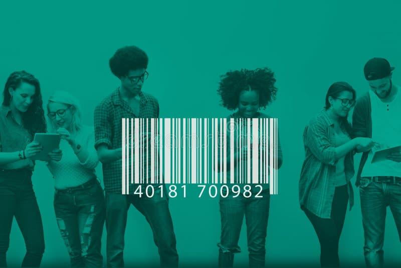 Concepto de la etiqueta de la encripción de la etiqueta de la identificación del código de barras foto de archivo