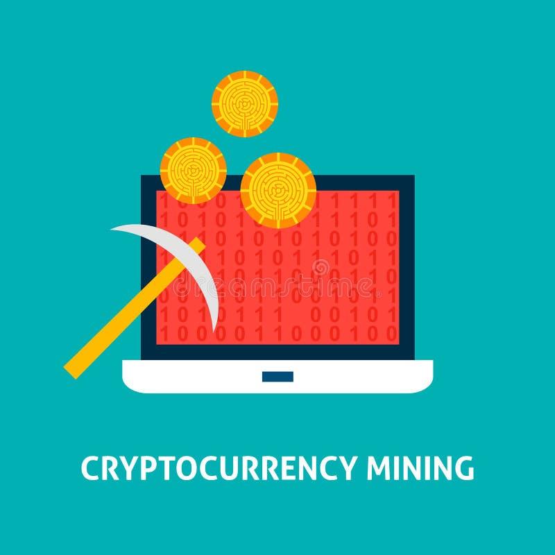 Concepto de la explotación minera de Cryptocurrency ilustración del vector