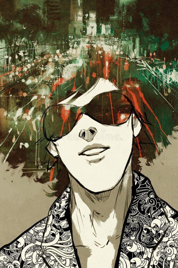 Concepto de la exposición doble de hombre del retrato con la calle de la ciudad de la noche libre illustration