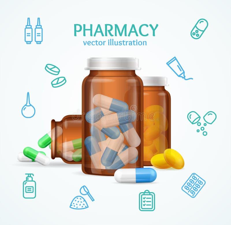 Concepto de la farmacia con las cápsulas de las píldoras en botella de cristal médica Vector stock de ilustración