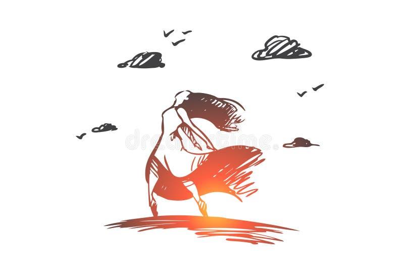 Concepto de la felicidad y de la libertad Vector aislado dibujado mano stock de ilustración