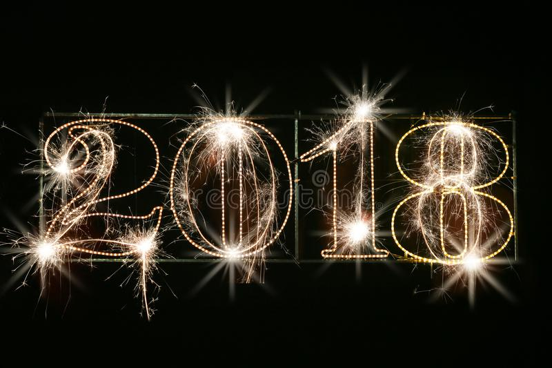 Concepto 2018 de la Feliz Año Nuevo ilustración del vector