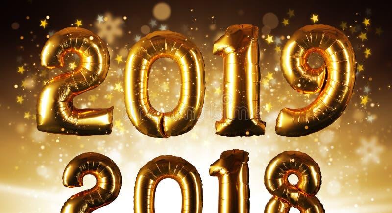 Concepto de la Feliz Año Nuevo con números de oro ilustración del vector