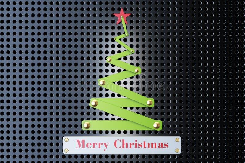 Concepto de la Feliz Navidad con el árbol de navidad metálico abstracto, 3 stock de ilustración