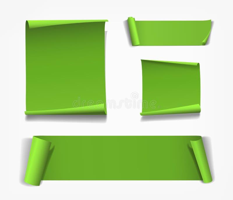 Concepto de la Feliz Navidad del papel de rollo del verde del vector aislado en blanco ilustración del vector