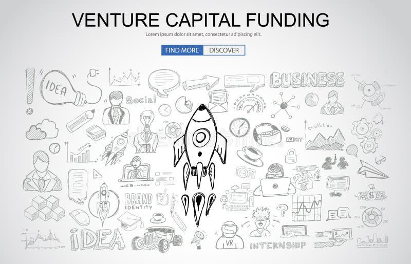 Concepto de la financiación de capital de riesgo con styl del diseño del garabato del negocio stock de ilustración