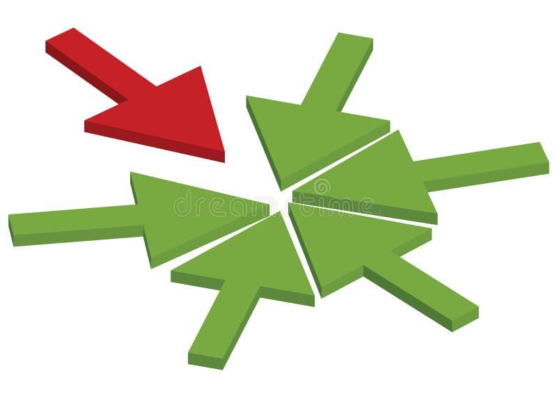Concepto de la flecha del trabajo en equipo   ilustración del vector