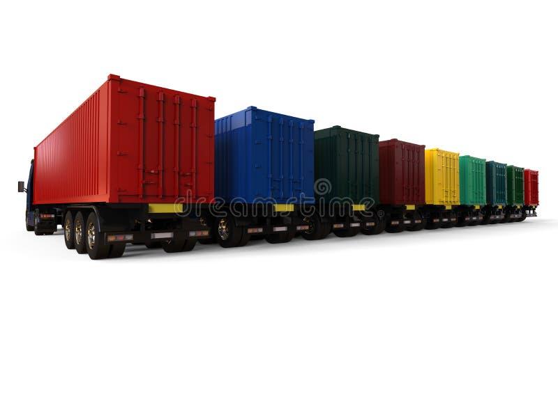 Concepto de la flota de camiones del envase ilustración del vector