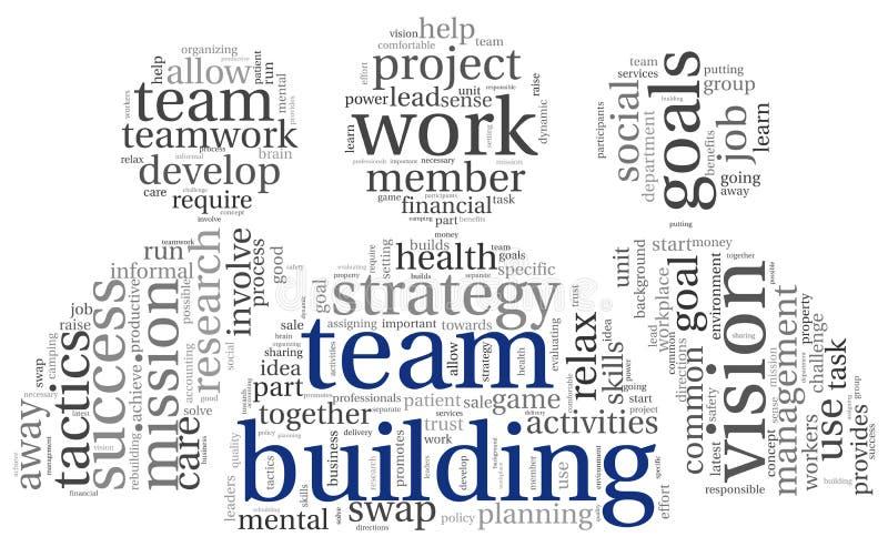 Concepto de la formación de equipo en nube de la etiqueta de la palabra stock de ilustración