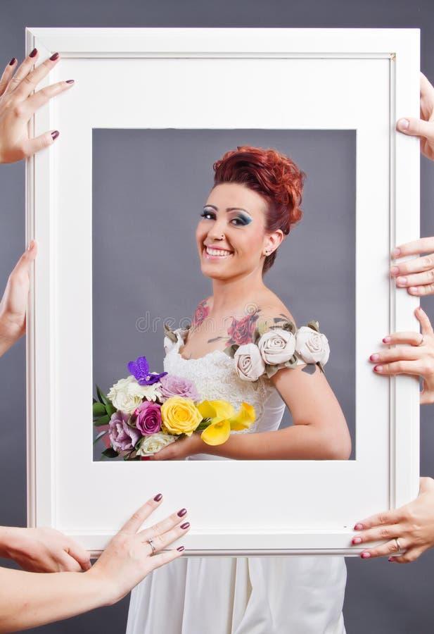 Concepto de la fotografía del estudio de la boda imagen de archivo
