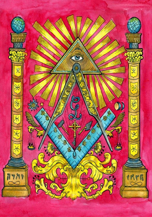 Concepto de la francmasonería con las columnas, todas que ven el ojo y la pirámide stock de ilustración
