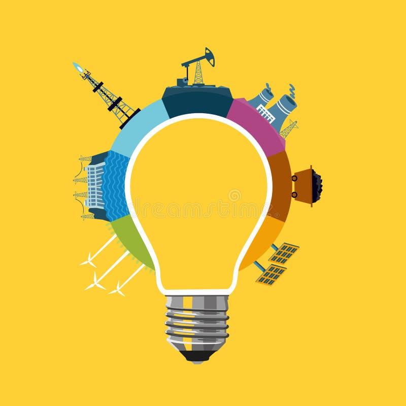 Concepto de la generación de la energía ilustración del vector