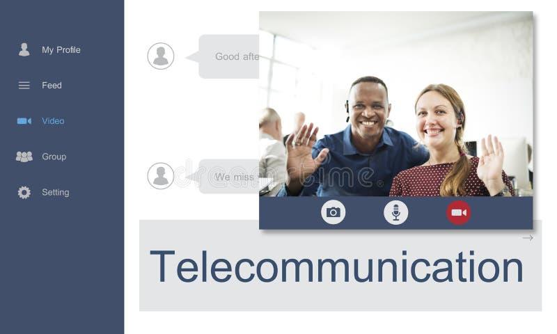 Concepto de la gente de la conversación de la comunicación del establecimiento de una red imagen de archivo