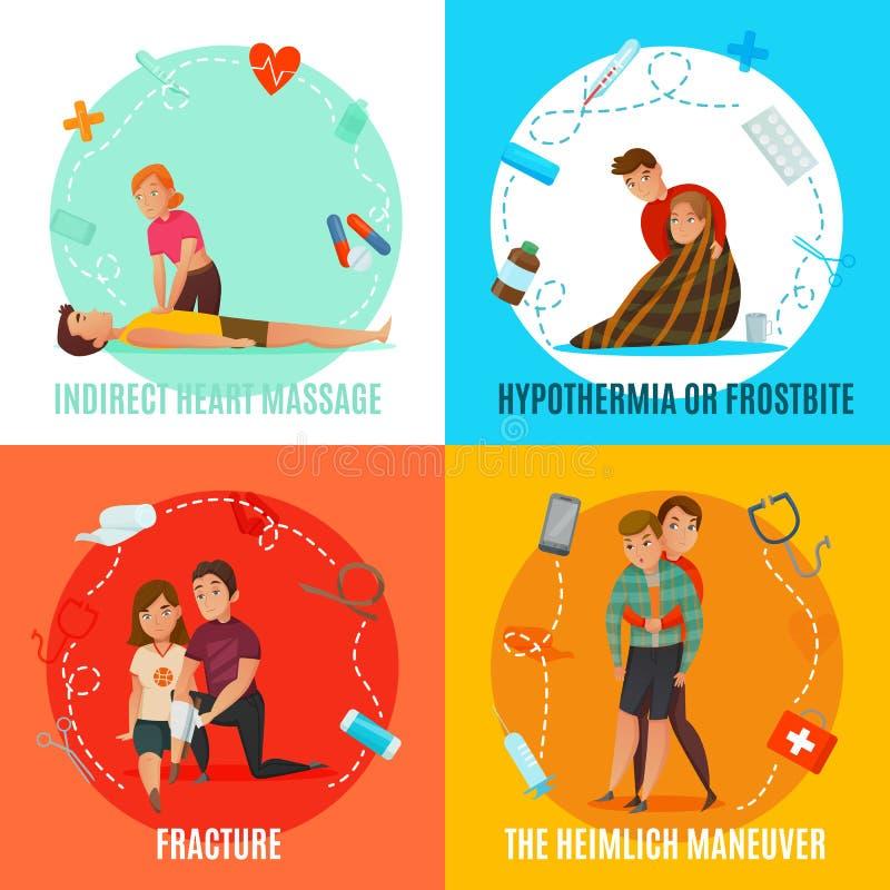 Concepto de la gente de los primeros auxilios de la emergencia stock de ilustración