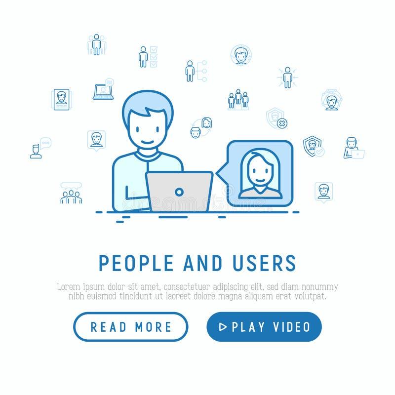 Concepto de la gente y de los usuarios stock de ilustración