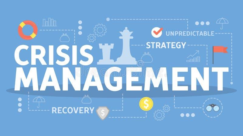 Concepto de la gestión de crisis Idea del control de riesgo stock de ilustración