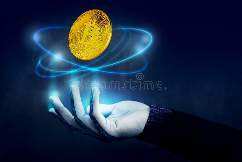 Concepto de la gestión de Cryptocurrency Flotación de oro del dinero de Bitcoin fotografía de archivo libre de regalías