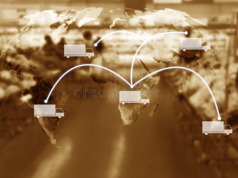 Concepto de la gestión de la cadena de suministro, espacio de la copia fotografía de archivo libre de regalías