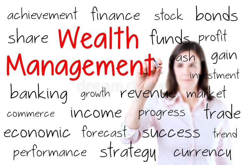 Concepto de la gestión de la riqueza de la escritura de la mujer de negocios fotografía de archivo libre de regalías