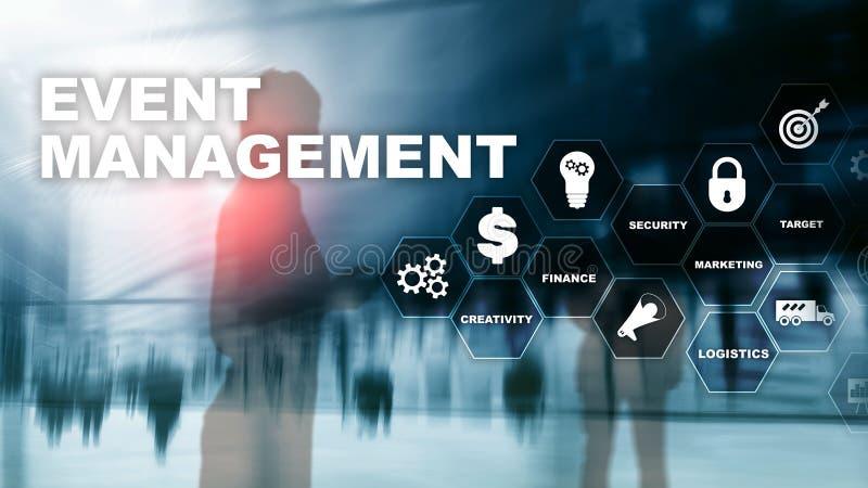 Concepto de la gestión del evento Organigrama de la gestión del acontecimiento La gestión del acontecimiento relacionó artículos  foto de archivo libre de regalías