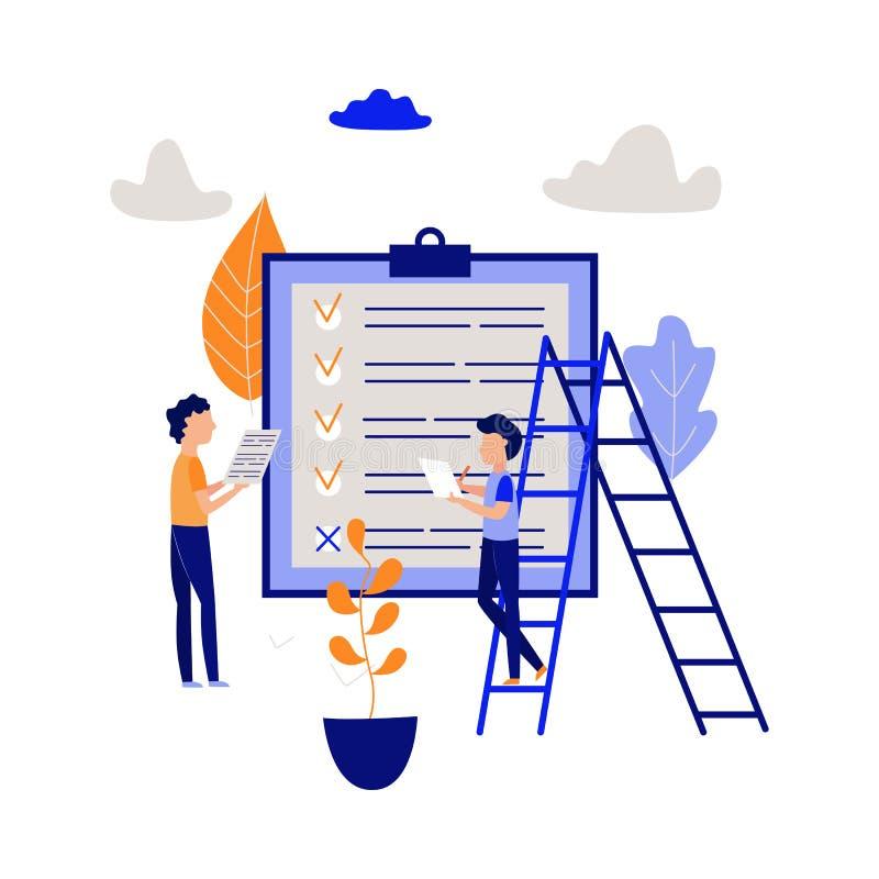 Concepto de la gestión del planeamiento y de tiempo con dos hombres que señalan tarea terminada y que organizan proceso del traba libre illustration