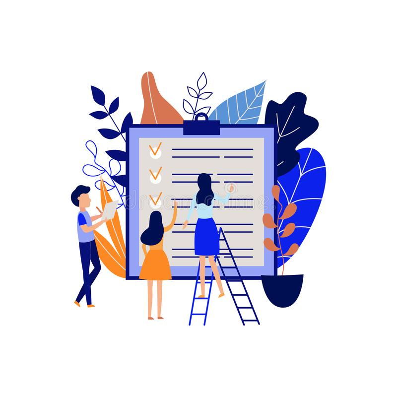 Concepto de la gestión del planeamiento y de tiempo con la gente que señala tareas terminadas y que organiza proceso del trabajo libre illustration