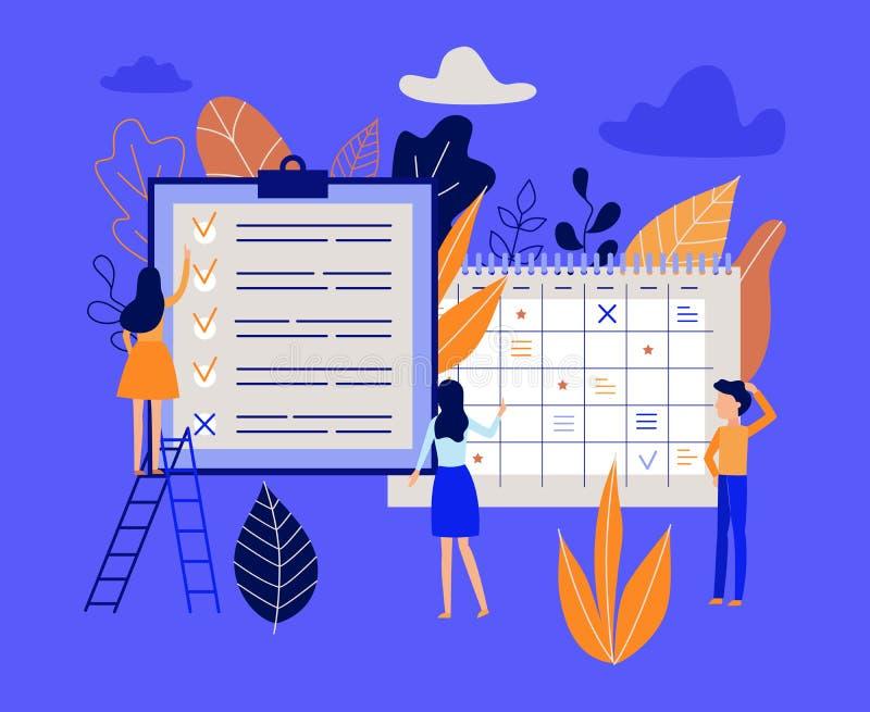 Concepto de la gestión del planeamiento y de tiempo con proceso de trabajo de organización de la gente libre illustration
