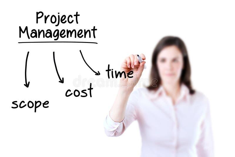 Concepto de la gestión del proyecto de la escritura de la empresaria fotografía de archivo