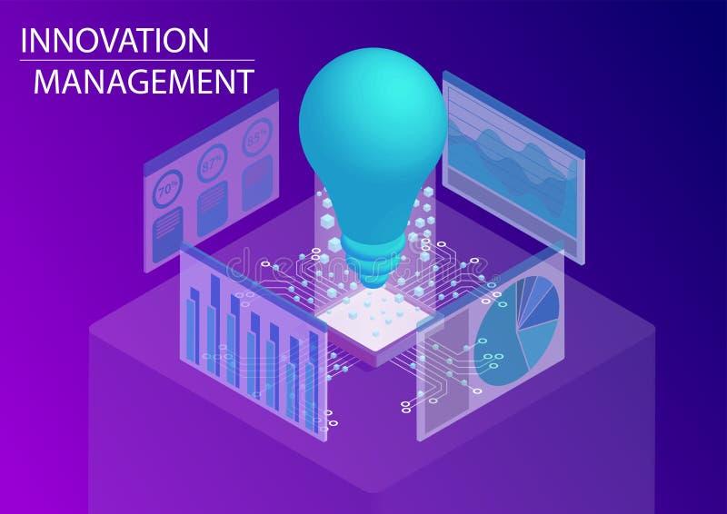 Concepto de la gestión de la innovación ejemplo isométrico del vector 3d libre illustration