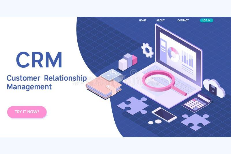 Concepto de la gestión de la relación del cliente Ejemplo isométrico del vector de CRM stock de ilustración