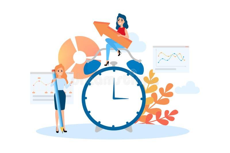 Concepto de la gestión de tiempo Idea del horario y de la organización stock de ilustración