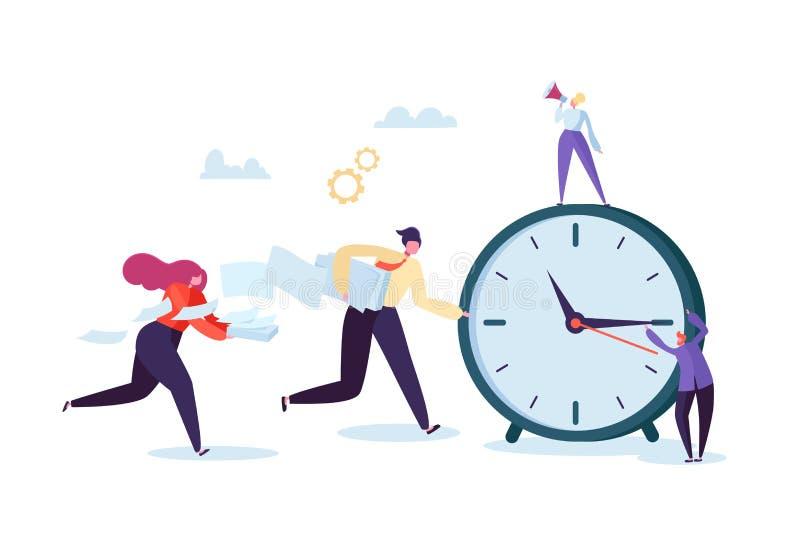 Concepto de la gestión de tiempo Proceso plano de la organización de los caracteres Hombres de negocios que trabajan junto a Team libre illustration