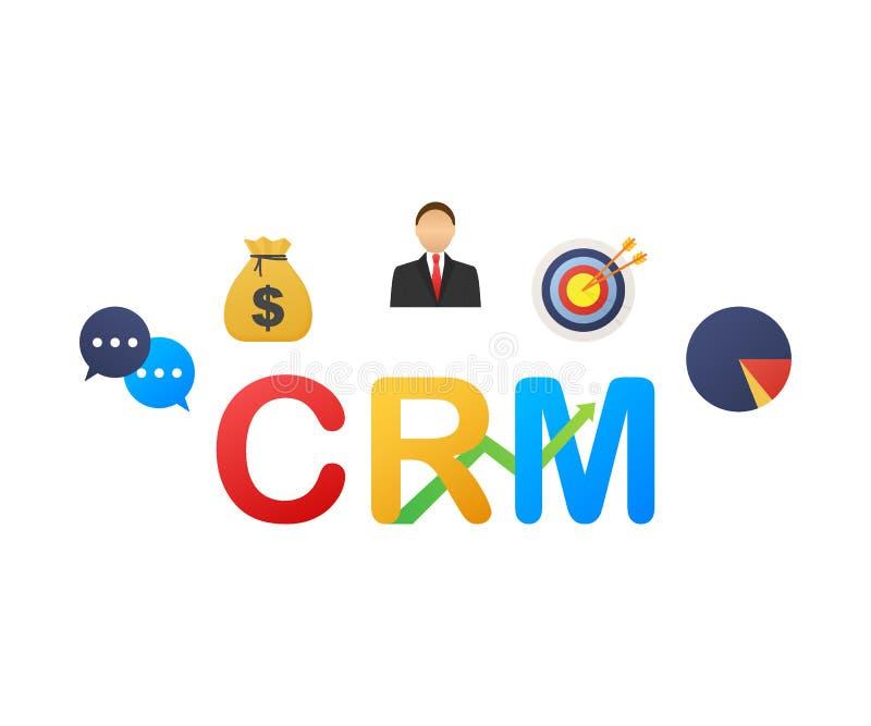 Concepto de la gesti?n de la relaci?n del cliente Organizaci?n de datos sobre el trabajo con los clientes, concepto de CRM Ilustr ilustración del vector