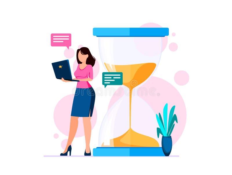 Concepto de la gesti?n de tiempo Mujer con los soportes del cuaderno cerca del reloj de arena grande stock de ilustración