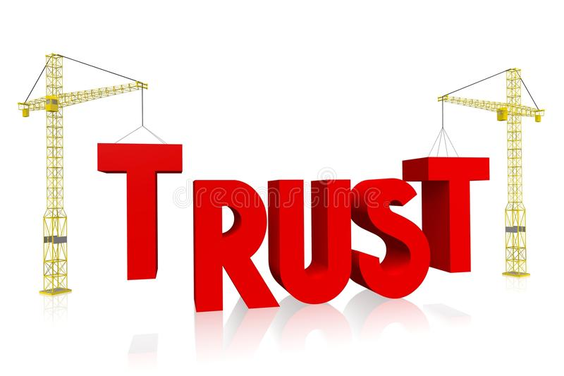 Concepto de la grúa - confianza stock de ilustración