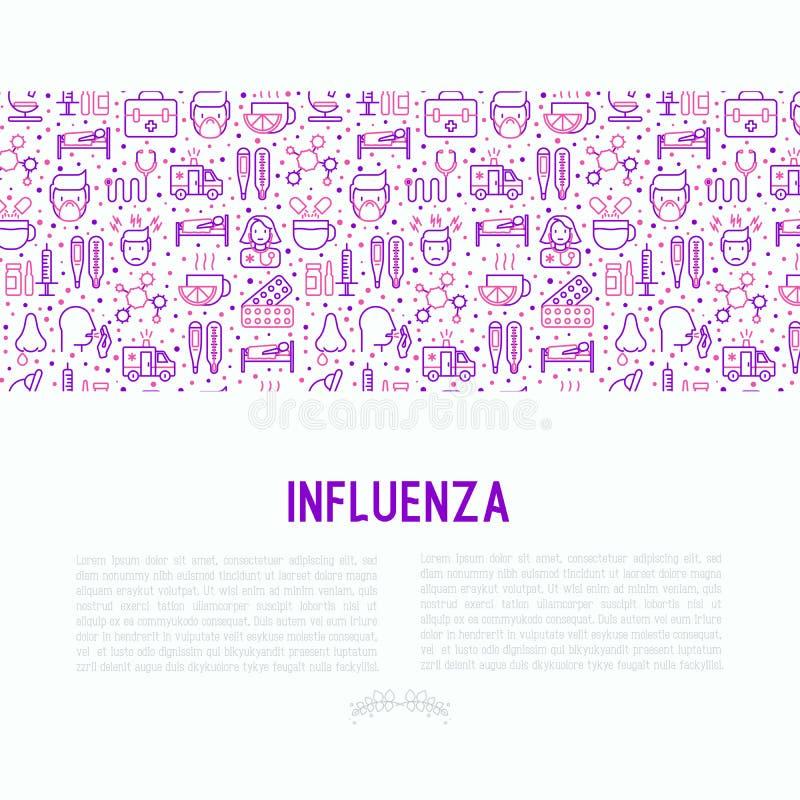 Concepto de la gripe con la línea fina iconos libre illustration