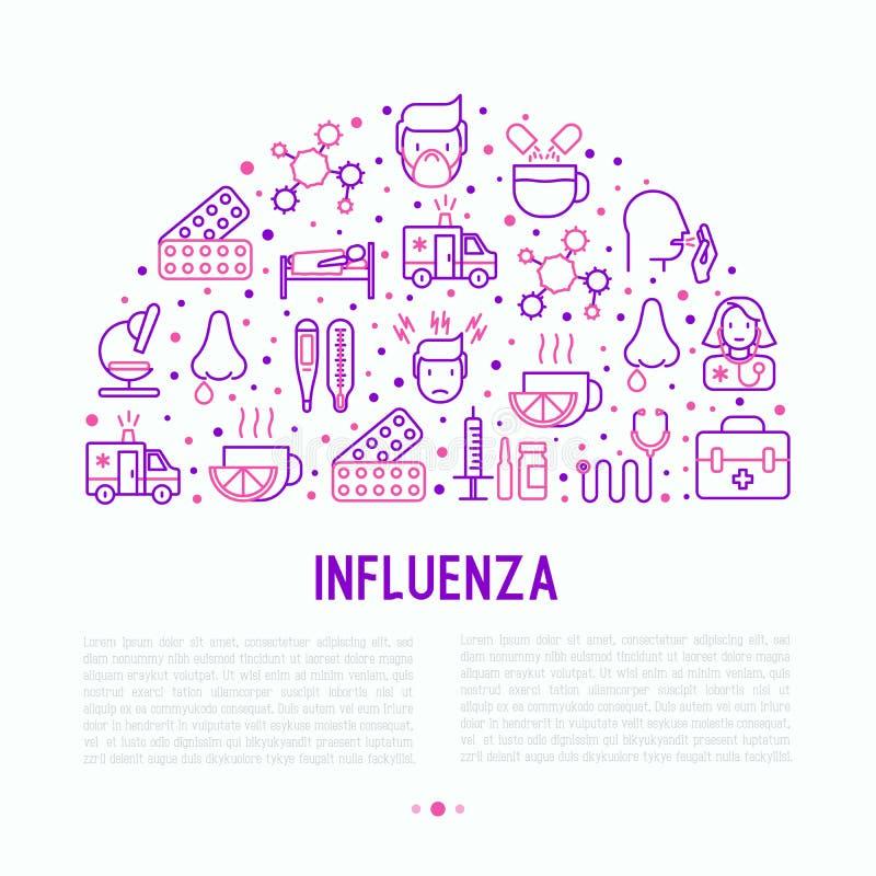 Concepto de la gripe con la línea fina iconos stock de ilustración