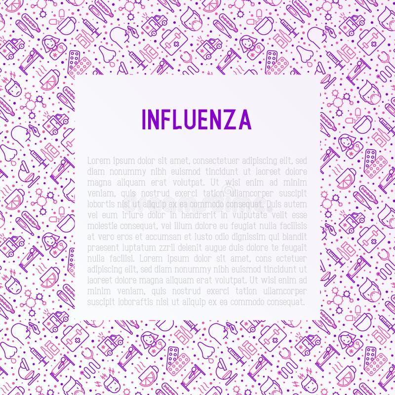 Concepto de la gripe con la línea fina iconos ilustración del vector
