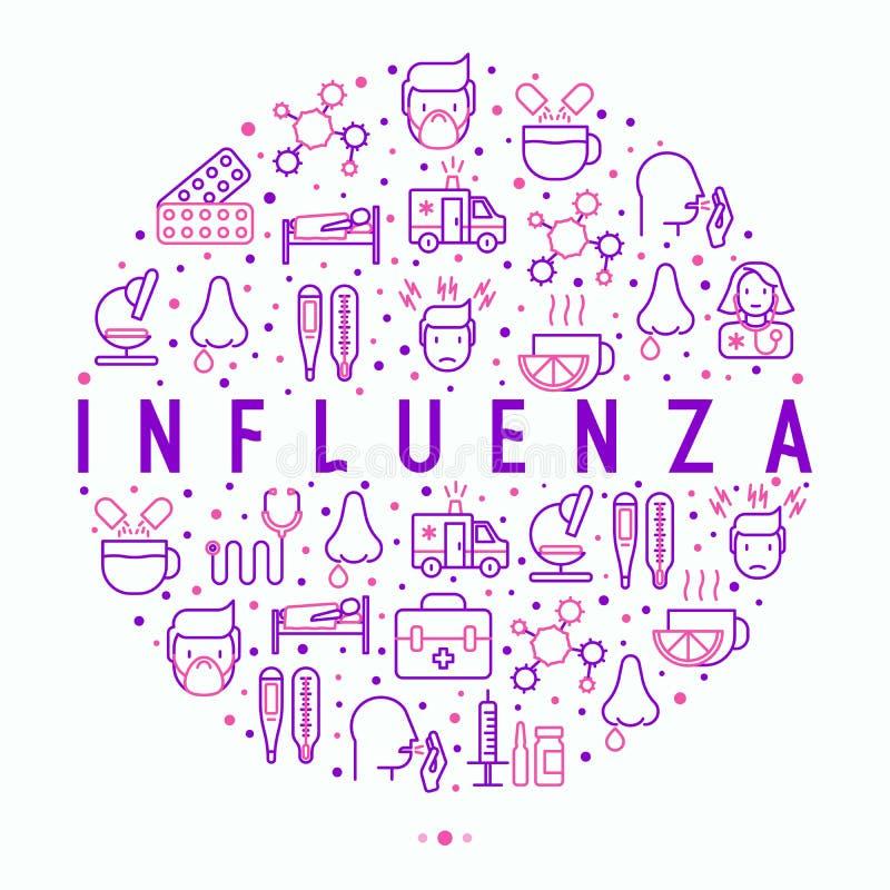 Concepto de la gripe en círculo con la línea fina iconos stock de ilustración