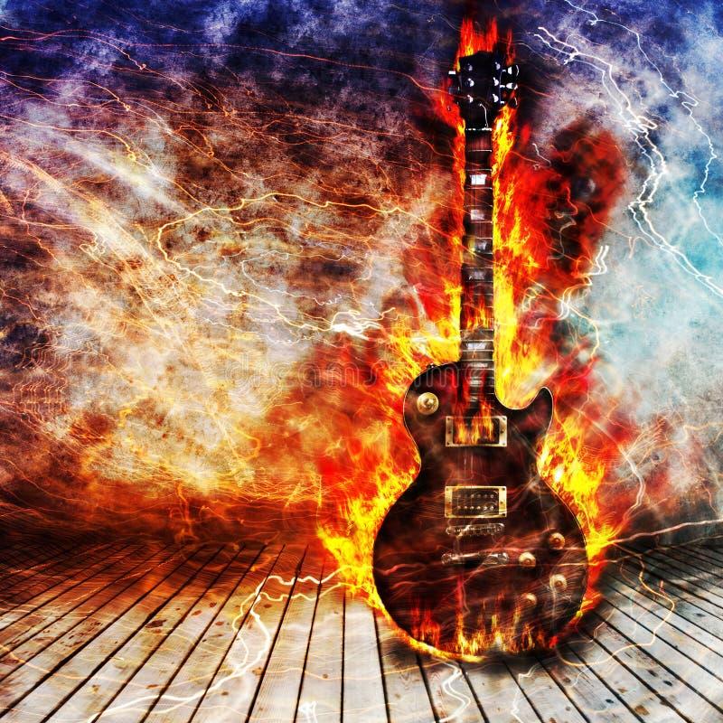 Concepto de la guitarra eléctrica stock de ilustración
