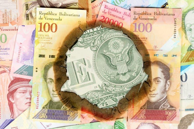 Concepto De Hiperinflación Venezuela Dinero Venezolano Quemado Con La  Imagen De Estadistas, A Través Del Agujero En El Cual Usted Imagen de  archivo - Imagen de naturalizado, financiero: 146100221