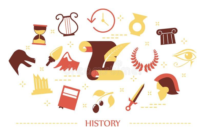Concepto de la historia Idea de la educaci?n y del aprendizaje ilustración del vector