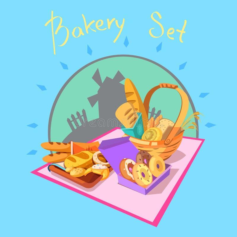 Concepto de la historieta de la panadería ilustración del vector