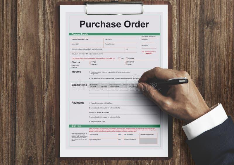 Concepto de la hoja de paga de la forma de orden de compra foto de archivo libre de regalías
