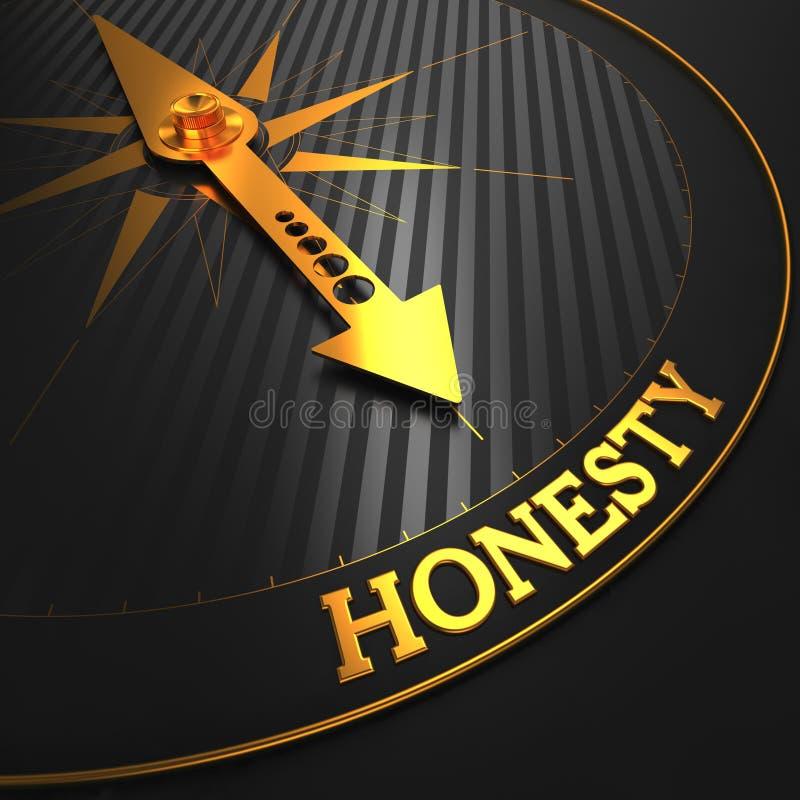 Concepto de la honradez en el compás de oro. stock de ilustración