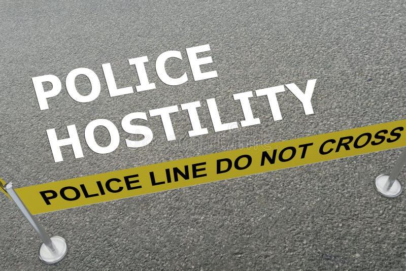 Concepto de la hostilidad de la policía stock de ilustración