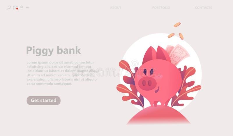 Concepto de la hucha del cerdo La caja de moneda rosada, ahorra el dinero stock de ilustración