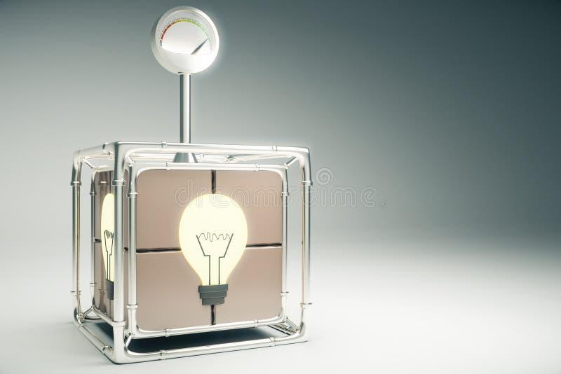 Concepto de la idea con la caja y la bombilla dentro libre illustration