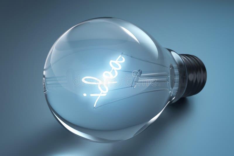 Concepto de la idea con las bombillas en un fondo azul, representación 3d stock de ilustración