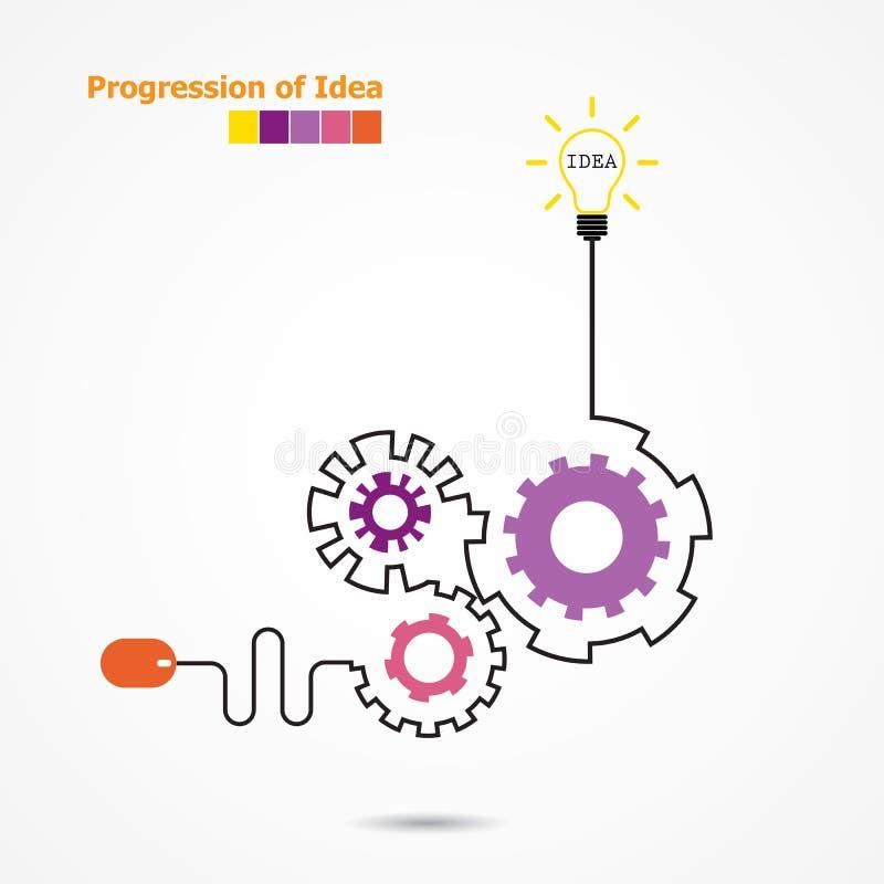 Concepto de la idea de la bombilla y símbolo creativos del ratón del ordenador Prog ilustración del vector
